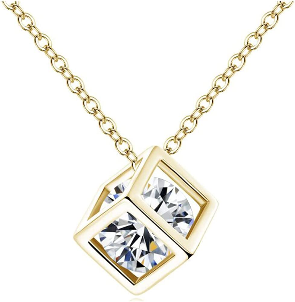 """Rose Gold Plated Hollow Cut Out Love Heart CZ Pendant Chain Necklace 17.7/"""" Gift"""