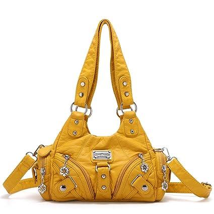 2568446c2ec Women's Crossbody Bag Large Double Zipper Multi Pocket Washed ...