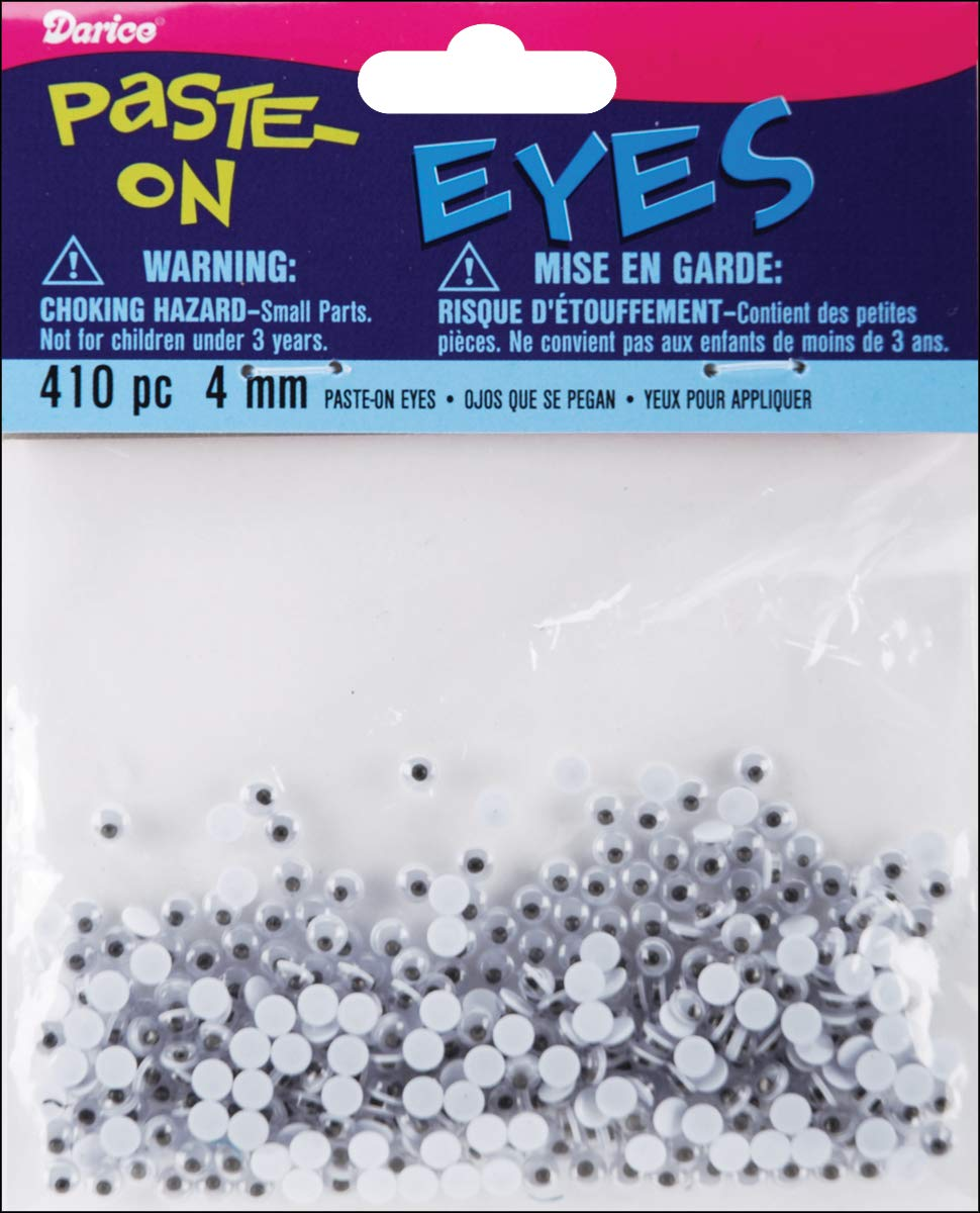 Paste On Wiggle Eyes 4 mm Black (12 Pack)