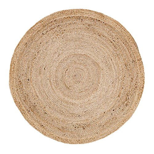 VHC Brands Coastal Farmhouse Flooring - Harlow Tan Round Jute Rug, 3' (Cotton Braided Olive)