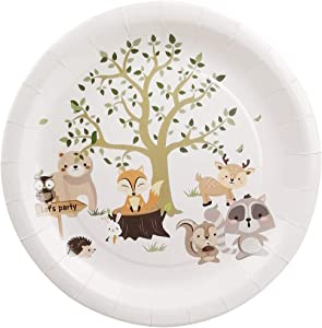 Cieovo 24 PCS Forest Animals Party Plates Disposable Party Paper Plates Tableware Set for Woodland Animal Creatures Theme Birthday Baby Shower Party Supplies