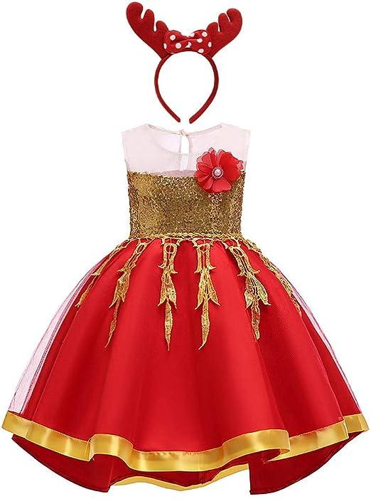 Wzmdd - Disfraz de Reno para niñas de 2 a 6 años, Rojo, 45 Years ...