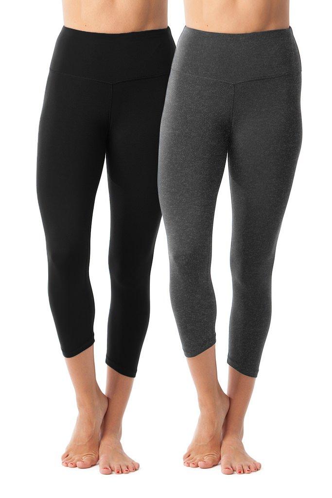 90 Degree By Reflex - High Waist Tummy Control Shapewear - Power Flex Capri - Black and Heather Charcoal 2 Pack - XS by 90 Degree By Reflex