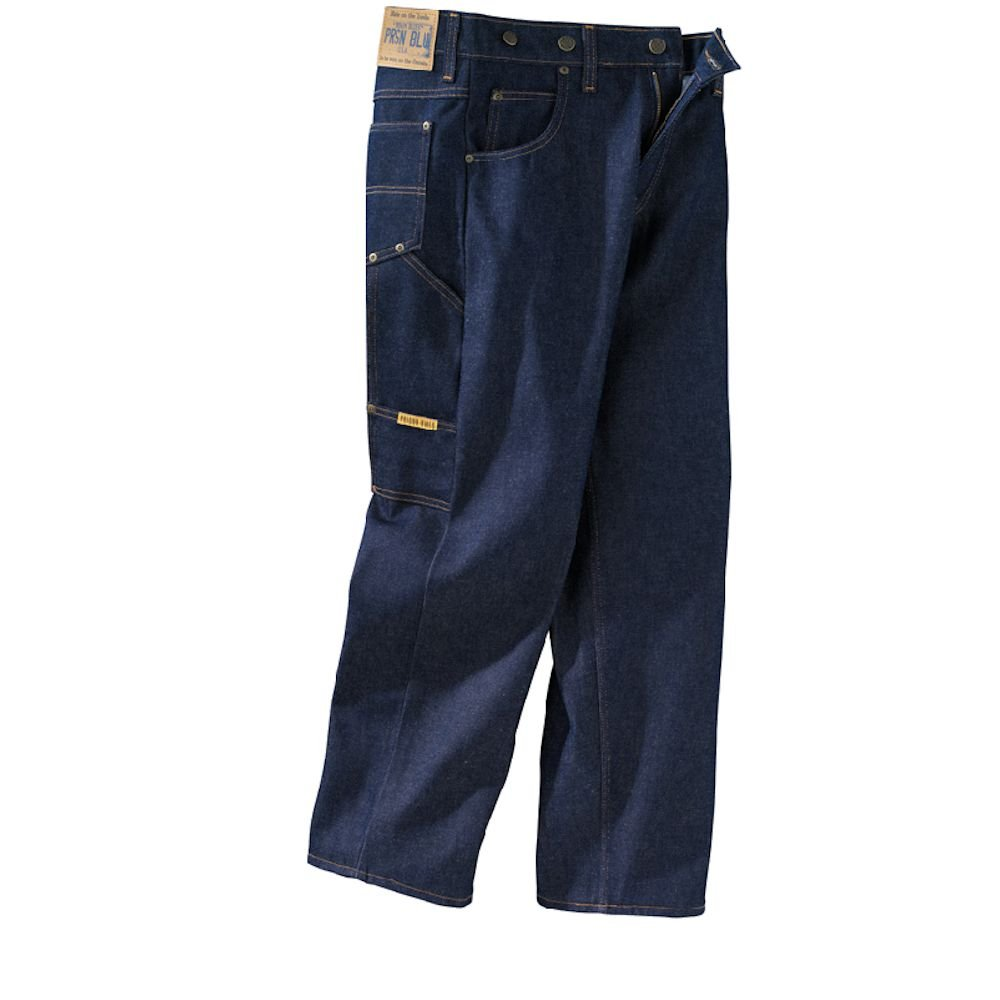 1940s Trousers, Mens Wide Leg Pants Prison Blues Mens Work Jeans (7 Pocket) Without Suspender Buttons $41.20 AT vintagedancer.com