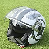 TCMT DOT White Star 3/4 Open Face Dual Visor Motorcycle Helmet W/Sun Shield (Medium, White)
