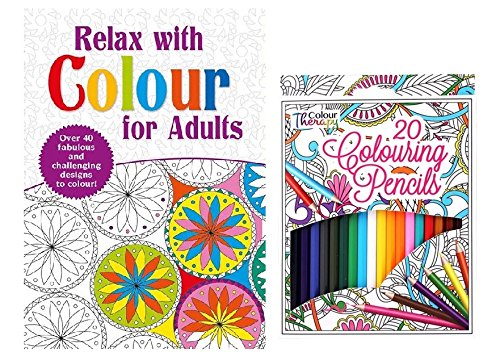 Relax With Colour For Adult Colouring Book With 20 Colour Therapy Pencils