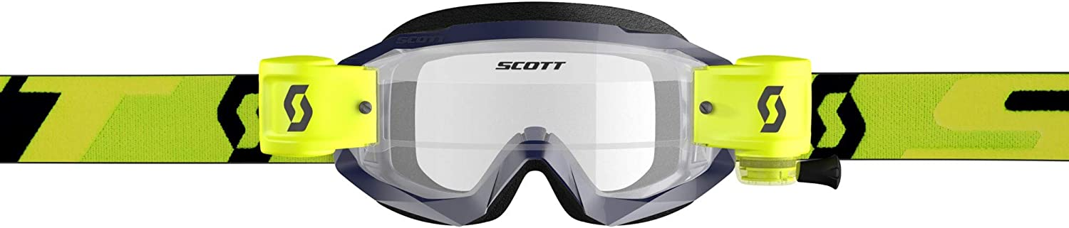 Yellow//Blue//Blue Clear//One Size Scott Hustle X Adult Off-Road Motorcycle Goggles