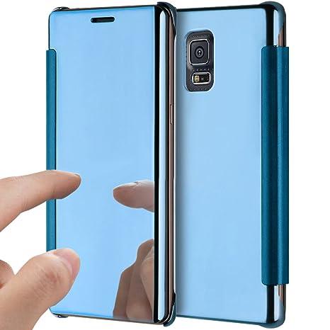 Funda Galaxy S5,Funda Galaxy S5 Neo,ikasus Plating metal cromado Transparente Flip Clear Hard PC Fundas Carcasa Delgado Flip soporte Protective ...