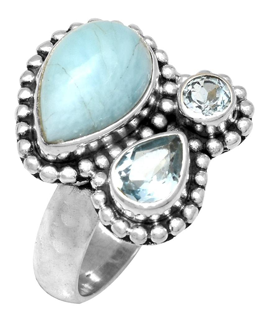 YoTreasure 925 Sterling Silver Natural Larimar Blue Topaz Ring