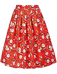 Women's Vintage Pleated High Waist Retro Christmas Skirts