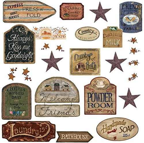 Lunarland COUNTRY SIGNS 26 BiG Wall Stickers Room Decor Western Decals Stars Rustic Farm (Decals Wall Rustic)