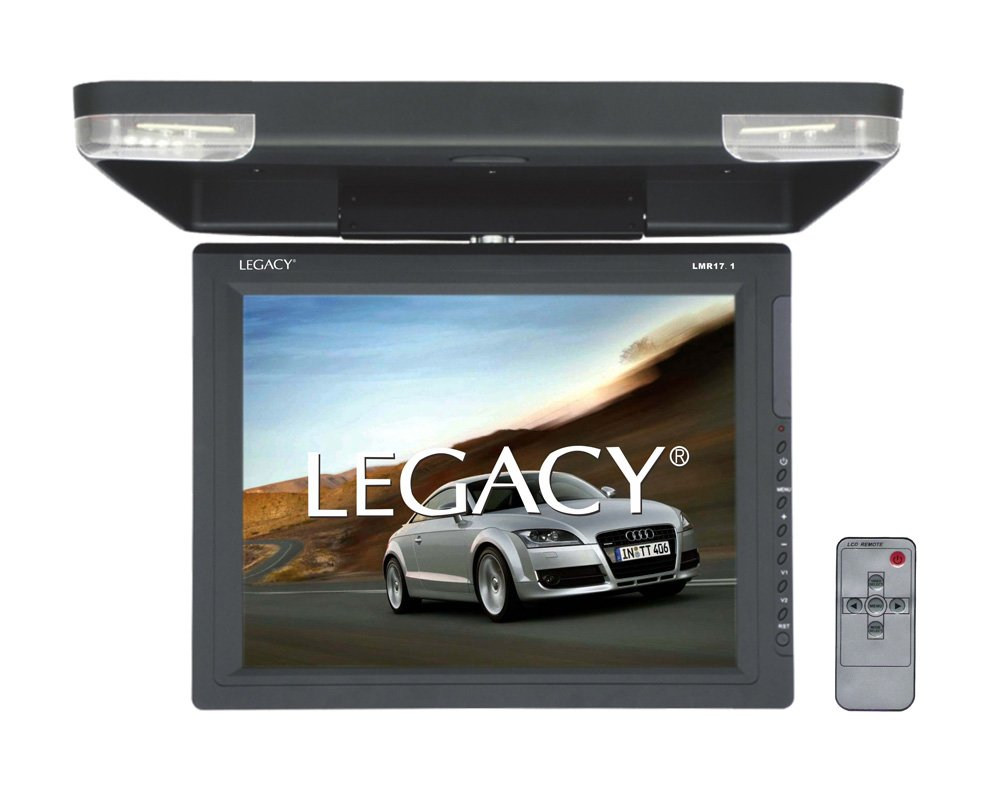 Legacy - 15'' Car Flip Down Display Monitor, Hi-Res Vehicle Roof Mount LCD Video Screen and IR Transmitter by Legacy