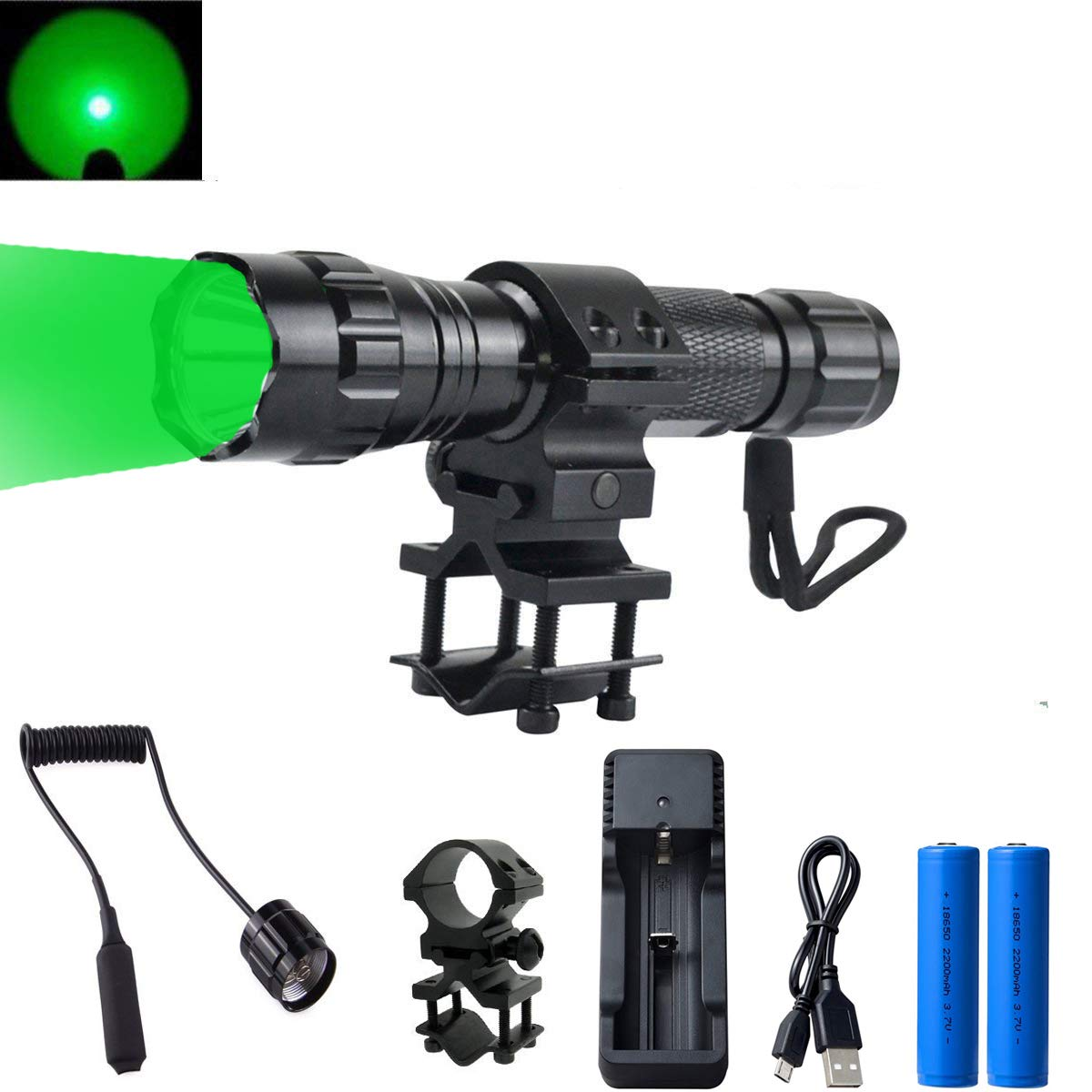 GRACETOP Green Light LED Coyote Hog Pig Varmint Predator Hunting Light Flashlight with Remote Pressure Switch by GRACETOP