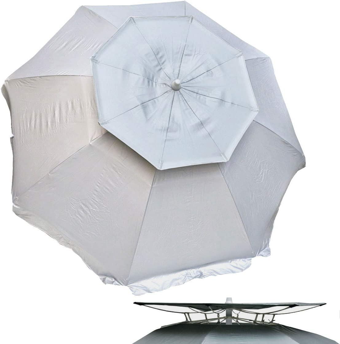 Solar Guard 6 ft Dual Canopy Heavy Duty Beach Umbrella Shelter UPF 150 Ultra Cool – Wind Resistant