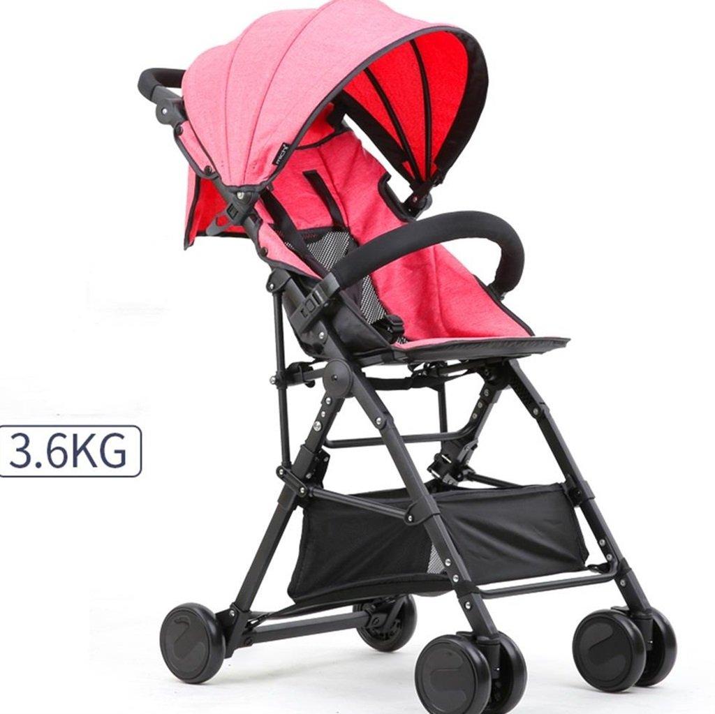 ベビーカート超軽量ポータブル&折りたたみ自転車、1ヶ月-4歳の高さの赤ちゃんのベビーカーベビー4輪ベビートロリー目覚まし (色 : ピンク ぴんく) B07DVDM65G ピンク ぴんく ピンク ぴんく