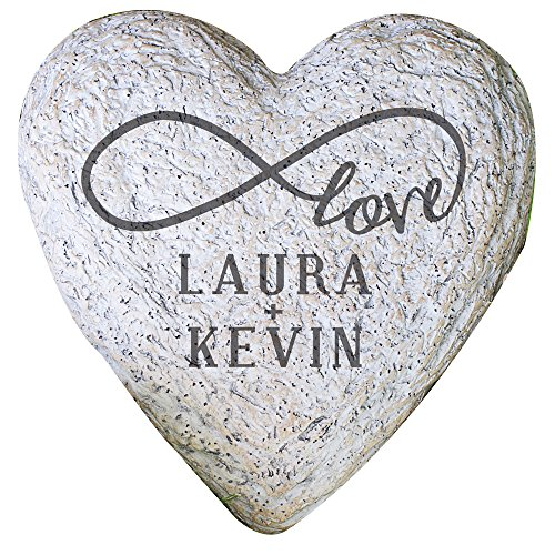 GiftsForYouNow Infinity Love Couple Small Heart Personalized Garden Stone, 5.5""