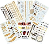 Modern Boho 5 Sheets Metallic Tattoos Flash, Gold/Silver, Tribal Collection