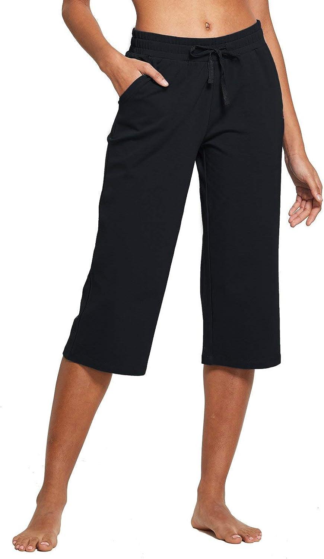 BALEAF Womens Active Yoga Lounge Indoor Jersey Capri Pocketed Walking Crop Pants