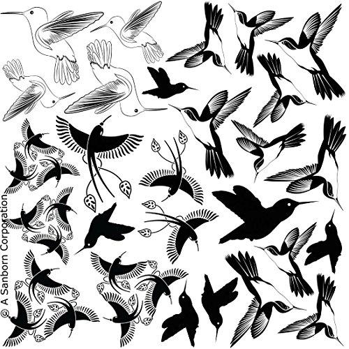 Hummingbirds Black Enamel Fusible Decal - Enamel Fusible Black Decal