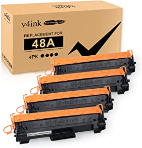 [New Chip] V4INK Compatible 48A Toner Cartridge Replacement for HP 48A CF248A for use in HP Laserjet Pro M15w M15a M16w M16a MFP M29w M29a M28w M28a Printer (4 Pack Black)