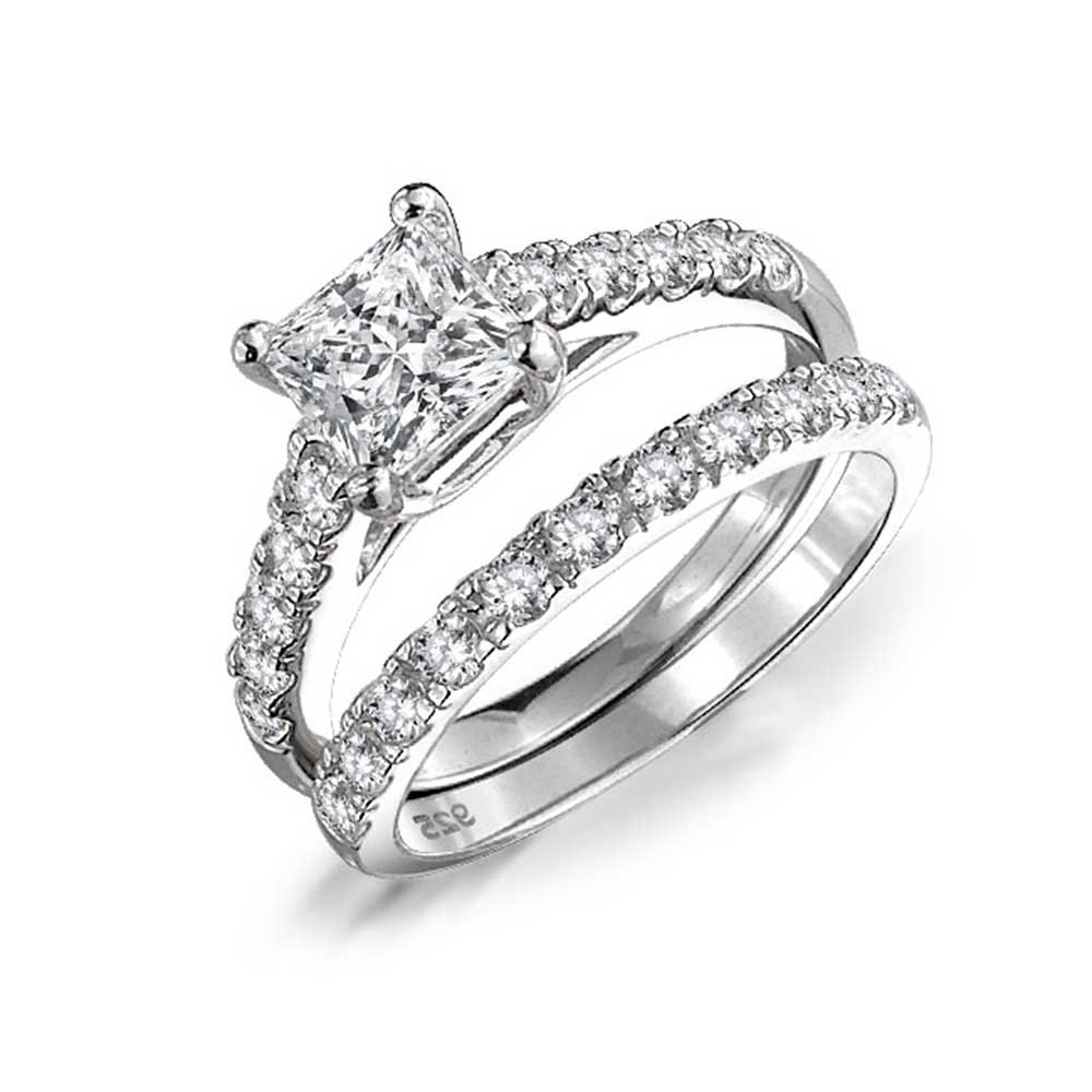 Bling Jewelry Princess Cut Sterling Silver CZ Engagement Wedding Ring Set DT-LR0738SQ-SET