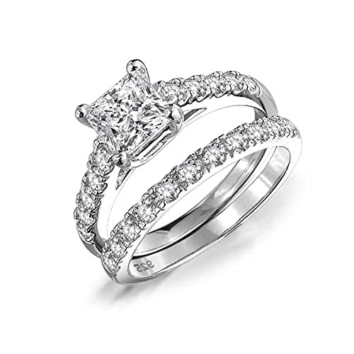15d70ebff38eb5 1CT Cubic Zirconia Square Princess Cut Solitaire Thin Pave Band AAA CZ  Engagement Wedding Ring Set 925 Sterling Silver: Amazon.ca: Jewelry