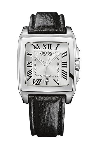 Hugo Boss 1512497 - Reloj de caballero de cuarzo, correa de piel color negro: Amazon.es: Relojes