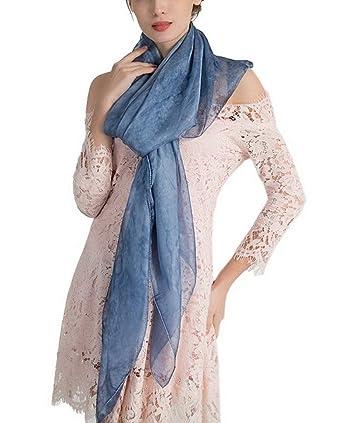 8a436d8160db Bigood Couleur Uni Vogue Écharpe Imitation Soie Châle en Plage Foulard  Élégance Bleu