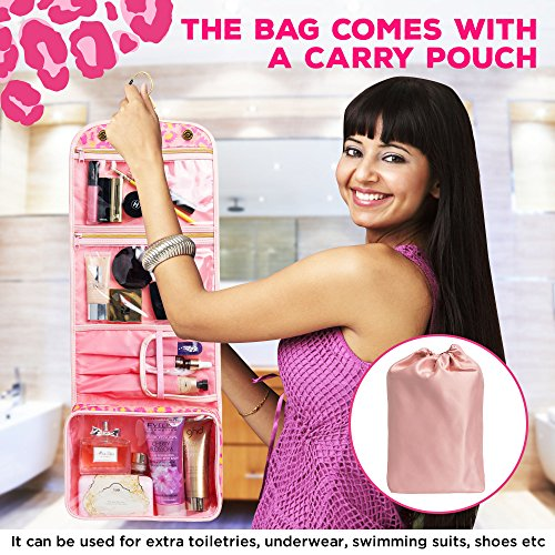 Hanging Toiletry Bag - TSA Approved Travel Kit for Women - Flat Makeup Case - Compact Cosmetic Essentials Pouch - Waterproof Organizer with Sturdy Hook - Dopp with Clear Compartments - Premium Quality by Bella's Gift (Image #2)