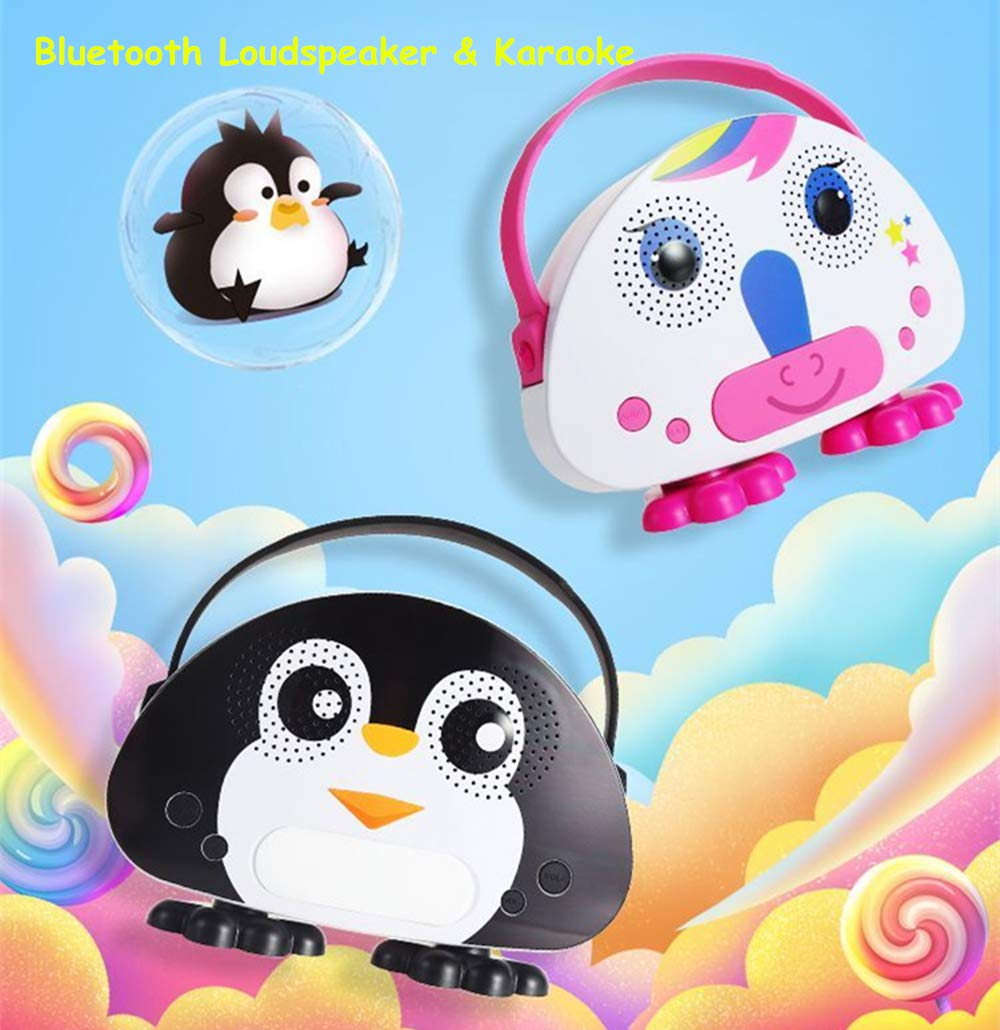 Kids Bluetooth Karaoke Machine with Microphone, Rechargeable Children's Wireless Loudspeaker Portable Cartoon Karaoke Music MP3 Player Toy with Microphone for Party Gift (Black) by OceanEC (Image #6)