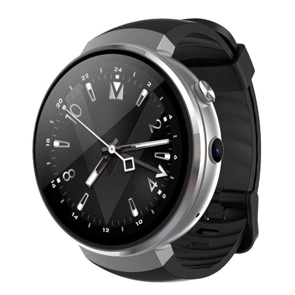 Sanniya 4G Wifi Intelligente Uhr, 1,39 Zoll OLED-Display, Android 7.0 OS, Pulsmesser Kompatibel mit Ios und Android