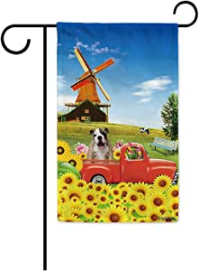 BAGEYOU Sunflowers Vintage Truck Farmhouse Dog Garden Flag English Bulldog Puppy Rustic Country Farm Windmill Cow Summer Flower Decor Home Banner for Outside 12.5x18 Inch Print Both Sides