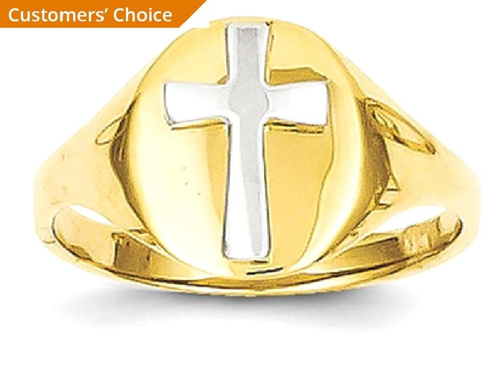 ICE CARATS 14k Yellow Gold Cross Religious Baby Band Ring Size 4.00 Fine Jewelry Gift Set For Women Heart by ICE CARATS (Image #2)