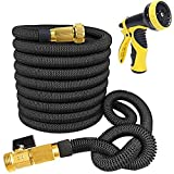 XpandaHose - ALL NEW 2017 - Flexible Expandable 75ft Water Garden Hose By J&B Lawn - Durable Latex Core & Copper Ends - Lightweight - Kink Free & Retractable - Comes With 9 Setting Nozzle