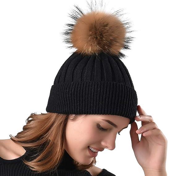 1c2a866d465 Womens Winter Pom Pom Hat - Super Soft Angora Wool Knit Beanie Fur Ball Hats  For Women Girls FURTALK Original - Black -  Amazon.co.uk  Clothing