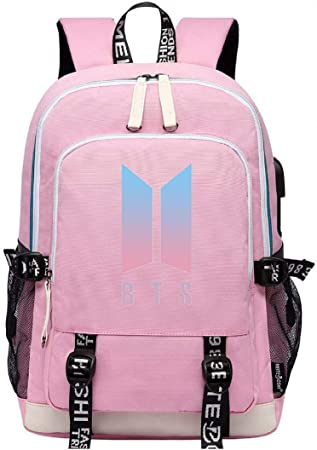 JUSTGOGO KPOP BTS Bangtan Boys Backpack Daypack Laptop Bag School Bag Bookbag with USB Charging Port 9