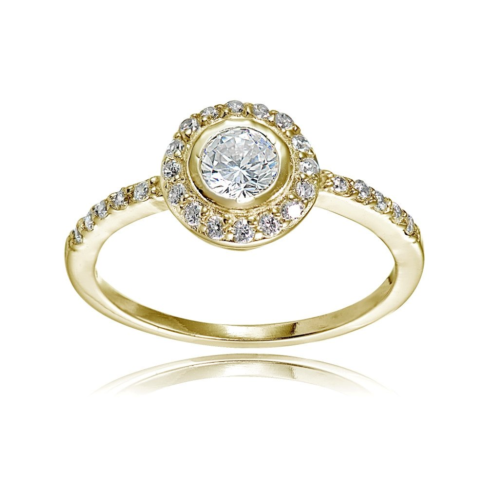 Yellow Gold Flashed Sterling Silver Cubic Zirconia Halo Round-cut Bridal Engagement Ring, Size 8