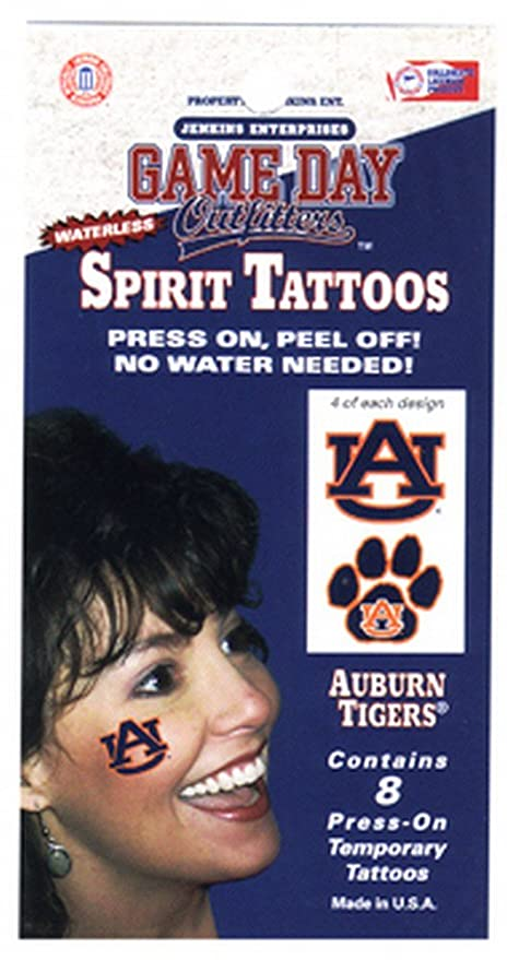 4ac7510a6 Amazon.com : NCAA Auburn Tigers Tattoo Waterless : Sports Fan Apparel  Accessories : Sports & Outdoors