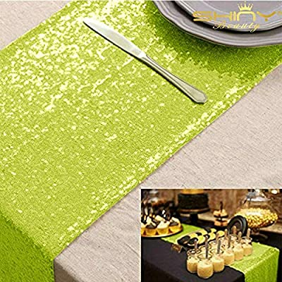 Amazon Com Shinybeauty Sequin Table Runners 108 Inches Lime Green