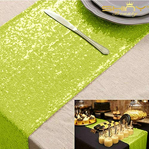 ShinyBeauty Sequin Table Runners 108 inches Lime Green Wedding Decorations 12in by 108in Pack of 1 Baby Shower Decorations in Lime Green Table Runner for Party Bridal Shower Decorations~M1217