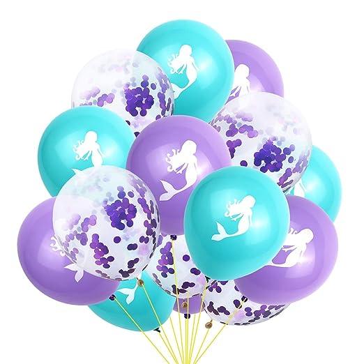 Amosfun 15 Unids Globos de Látex Globos de Sirena Confeti Globos Transparentes Set cumpleaños decoración del Banquete de Boda