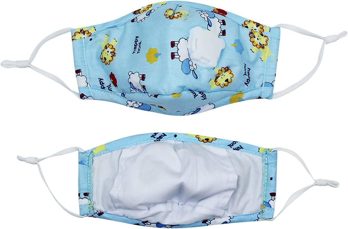 Unisex Kids 1 Blue Cotton Mouth Cover Cute Cartoon Print with Vent on Side /& Adjustable Elastic Loops /& 10 Pieces Pads for Girls Boys