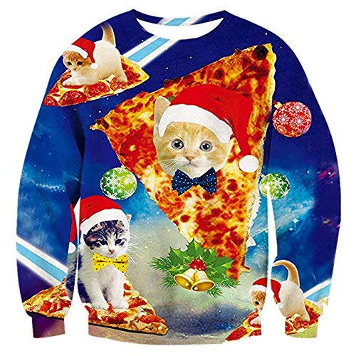 Idgreatim Mens Women 3D Pizza Cats Graphic Long Sleeve Ugly Christmas Pullover Sweatshirt Sweater L (Ladies Sweaters Christmas Pretty)