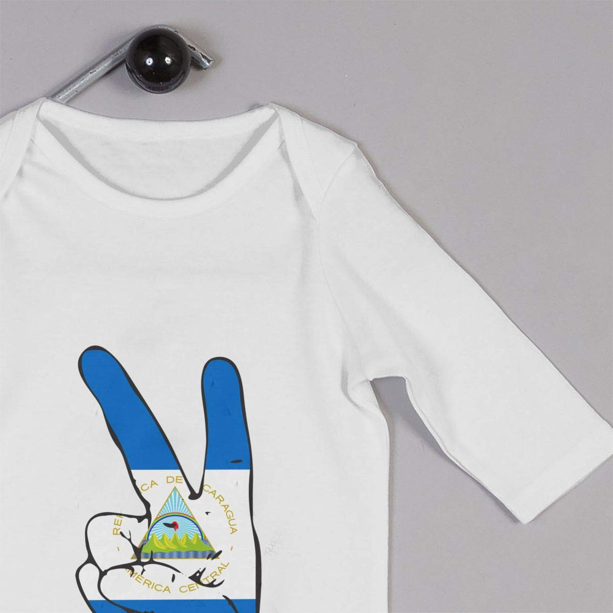 Mri-le1 Baby Boy Organic Coverall Peace Sign of Nicaragua Flag Baby Rompers