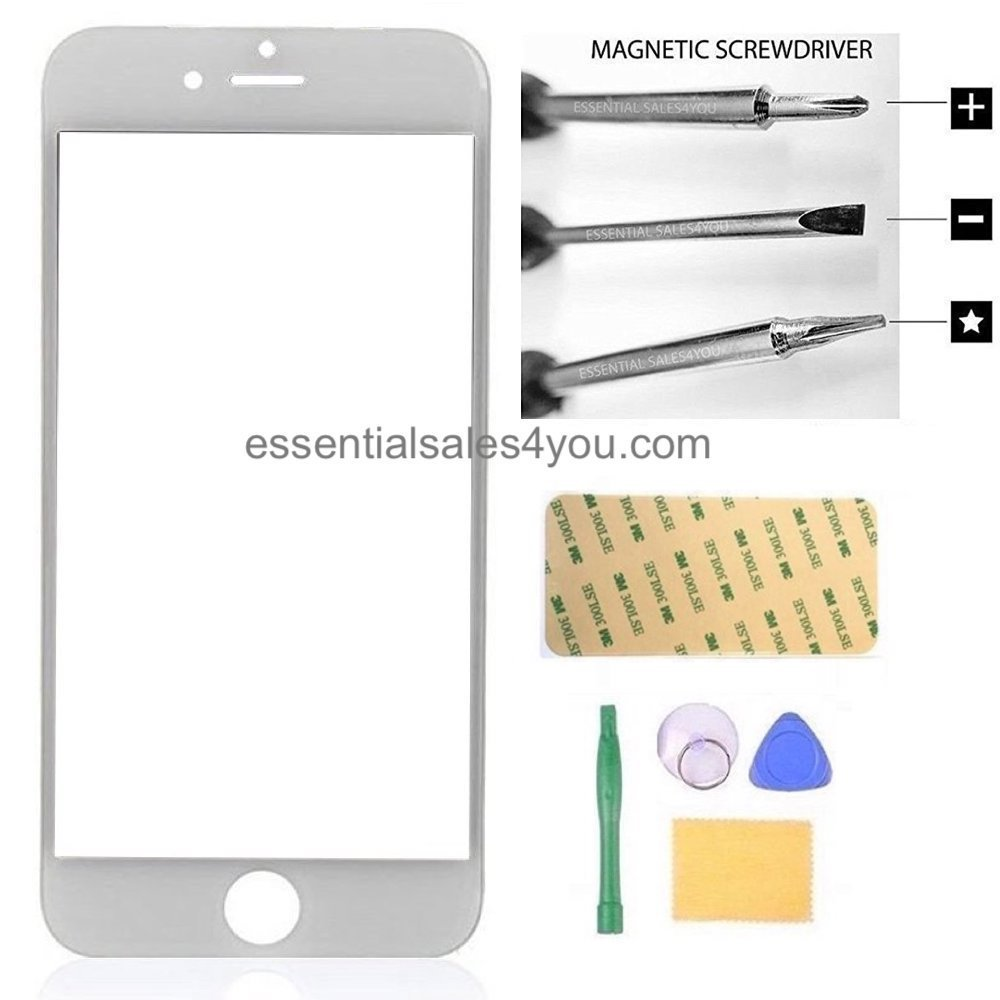 For Apple iPhone 6 6S 4.7'' inch Front Outer Screen Glass Lens , Replacement Parts Tool + Repair Kit Tools to open and Replace Cellular Part + 3M Tape ( WHITE )