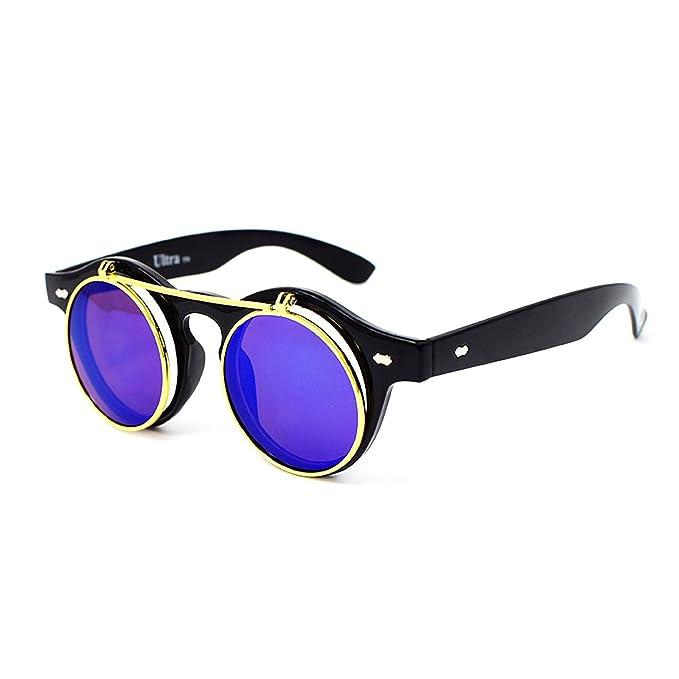 Ultra Steampunk Sonnenbrillen Leopard/Tiger Print mit braunen Linsen 50er Runde Gläser mit UV400 Schutz wtSFs1j