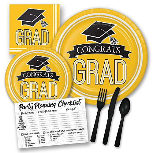 Yellow Congrats Grad Graduation Themed Party Supply Pack Bundle - Serves 18 Guests, Graduation Party Supplies 2019 -