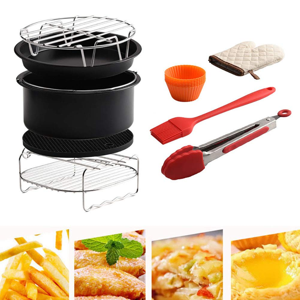 Togethluer Portable Durable Universal Air Fryer Accessories,4.2-5.8QT Air Fryer Accessories Chip Baking Basket Grill Rack Pizza Pan 9Pcs/Set