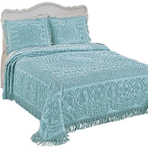 Calista Chenille Lightweight Bedspread with Fringe Border, Turquoise, Twin