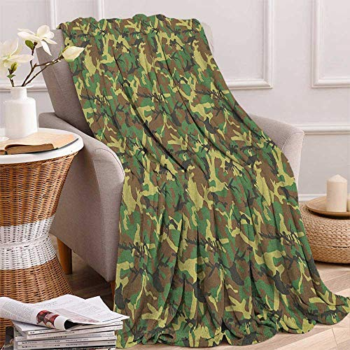 Blanket Camouflage Receiving Woodland - ScottDecor Bed or Couch 60